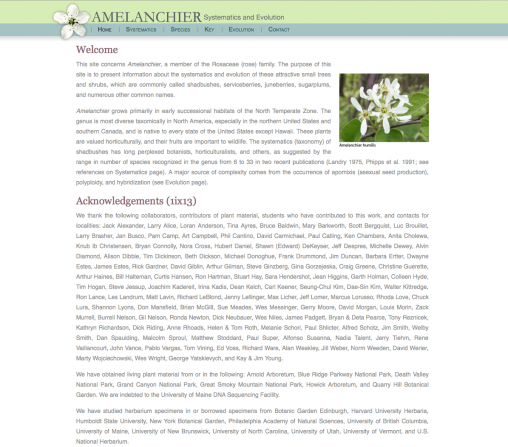 Link to Amelanchier site